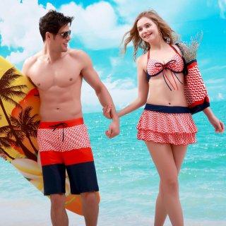 新作デザイン 波紋柄 スカート付のビキニ 3点セット 可愛いくてツイード感満載 大きい胸 ワイヤー付 パッドあり