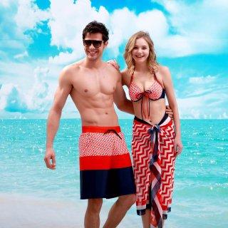 ファッション ビキニ波紋柄 大きい胸パレオ付の水着 3点セット可愛くて お洒落度アップ レディースビキニ ワイヤー付 パッドあり