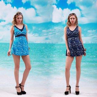 大きいサイズ 太ったがオシャレでき 紺色とブルー 2色大きい スカートのワンピース水着 パッドあり