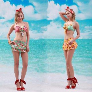 小柄模様 ファッション レディース 3点セット水着 綺麗花柄 可愛く満載 ワイヤー付 パッドあり スカート水着
