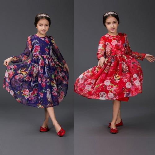 欧米風 最新デザイン フクロウプリント ロングワンピース 長袖 ラウンドネック子供 ワンピース キッズ ワンピ キッズワンピース  ドレス