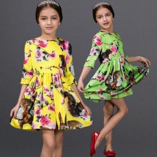 欧米風女の子ワンピース 花柄ワンピース リスプリント 七分袖 ファッション子供 ロングワンピース 長袖 ラウンドネック子供 ワンピース