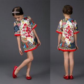 女の子ワンピース ファッションアパレル ジャカードワンピース 花柄ワンピース  豪華ワンピドレス 可愛いワンピ 半袖 ファッション子供