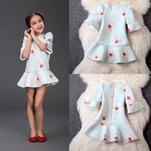 女の子ワンピース 子供ワンピース 清楚可愛い フレア袖 ファッションアパレル ジャカードワンピース 花柄ワンピース  豪華ワンピドレス