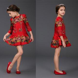 ファッション女の子 ワンピース 子供ワンピース 清楚可愛い 七分袖 ファッションアパレル onepiece 花柄ワンピース 豪華ワンピドレス