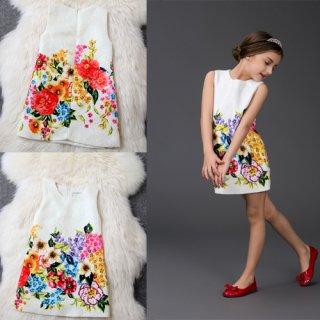 ファッション女の子 ワンピース 子供ワンピース 清楚可愛い 袖なし ジャカード ファッションアパレル onepiece  花柄ワンピース