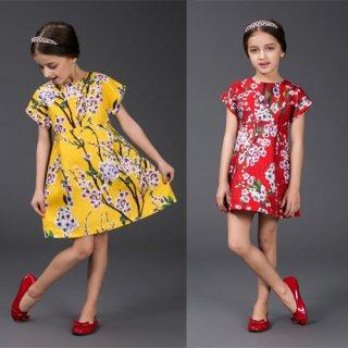 高品質ワンピース 子供ワンピース 清楚可愛い 梅柄 綺麗ワンピース ジャカード ファッションアパレル onepiece  花柄ワンピース