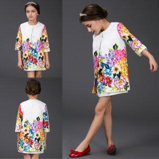 高品質アパレル 子供コート 清楚可愛い 花柄 綺麗ワンピース ジャカード ファッションアパレル onepiece  花柄ワンピース