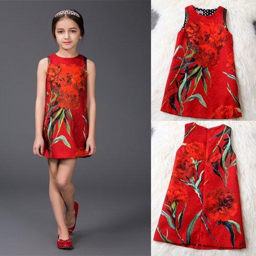 子供ワンピース 可愛いAラインスカート レッドモチーフ 植物柄 豪華ドレスワンピース 長袖 花柄 綺麗ワンピース ファッションアパレル