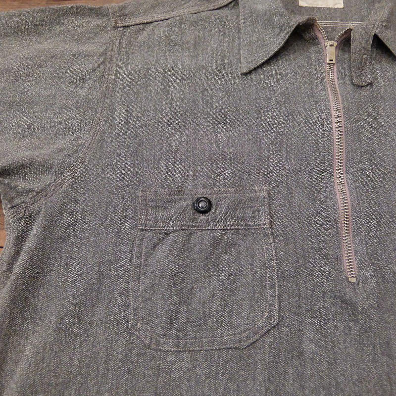 1930's Black Chambray Half Zip Work Shirt