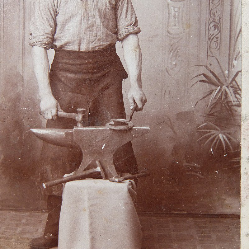 〜1900's Iron Hammering Worker Photo