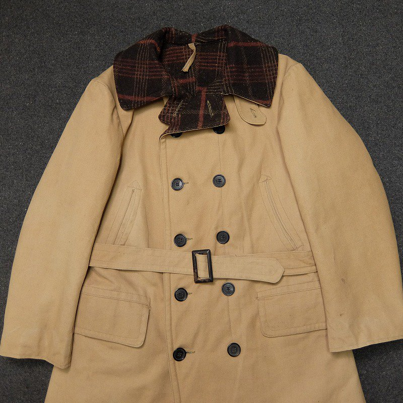 Double Breasted Canvas Coat with Blanket Lining
