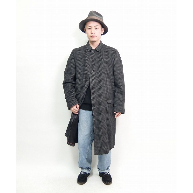 Houndstooth Check Wool Over Coat