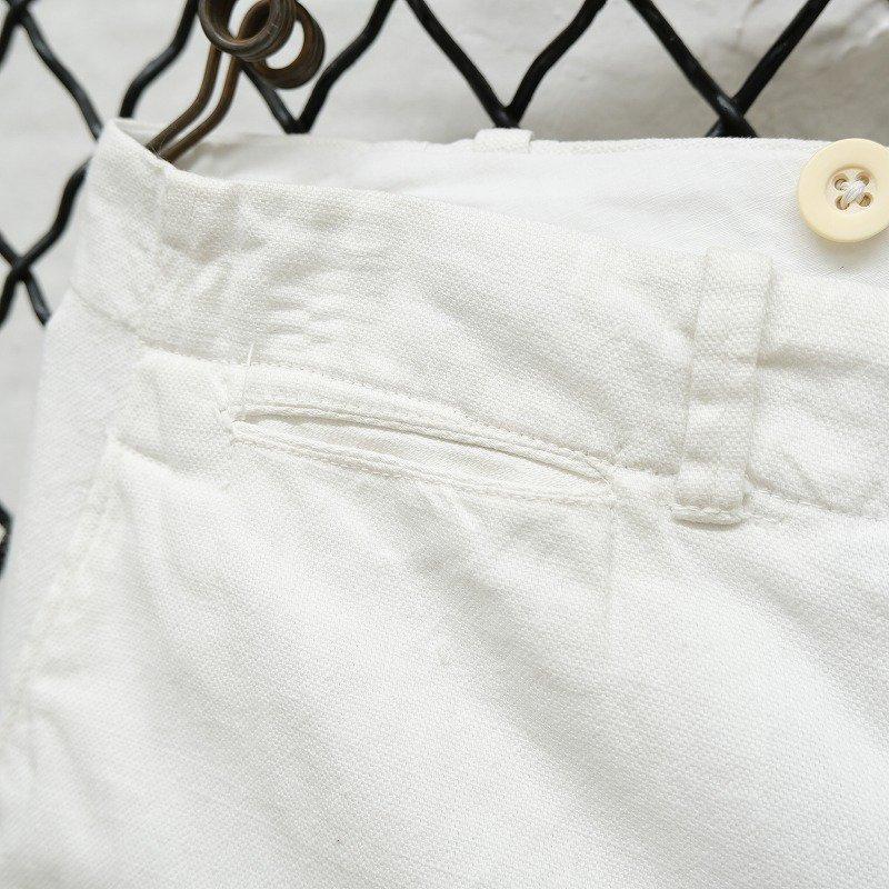 Antique White Cotton Linen Trousers