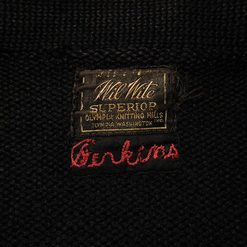 OLYMPIA KNITTING MILLS INC. Lettered Cardigan