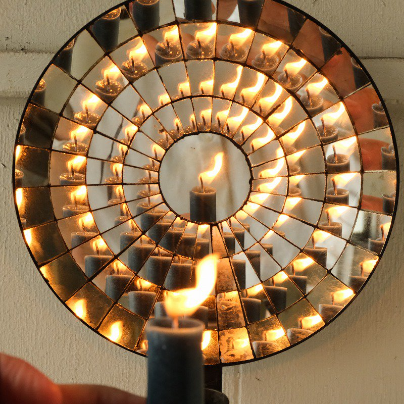 ANTIQUE REFLECTOR MIRROR CANDLE STAND