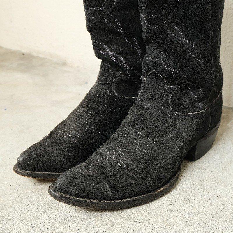 TONY LAMA BLACK SUEDE WESTERN BOOTS