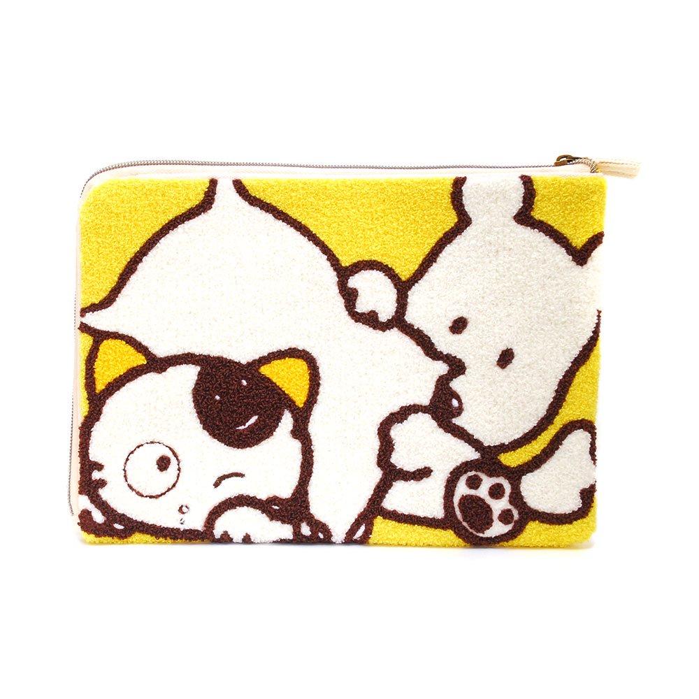 サガラ刺繍フラットポーチ(タマ&ポチ) TF03 TA