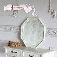 アンティーク ウォールミラー 大型八角ミラー ホワイト am-10021 リプロ