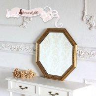 アンティーク ウォールミラー 大型八角ミラー ゴールド am-10022 リプロ