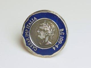 外国のコインのようなブルーのピンバッジ Metal 008