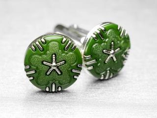 出逢うことが少ないグリーンのボタンを用いたカフスボタン Basic 002