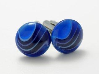 袖先にきれいなブルービーズが映えるカフスボタン Modern 003