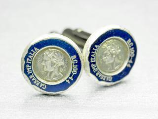 ブルーが袖先に映えるアンティークカフスボタン Metal 007