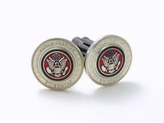 シルバーとレッドのコラボカフスボタン Metal 038