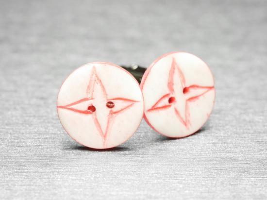 ピンクの手裏剣デザインカフスボタン Antique 025
