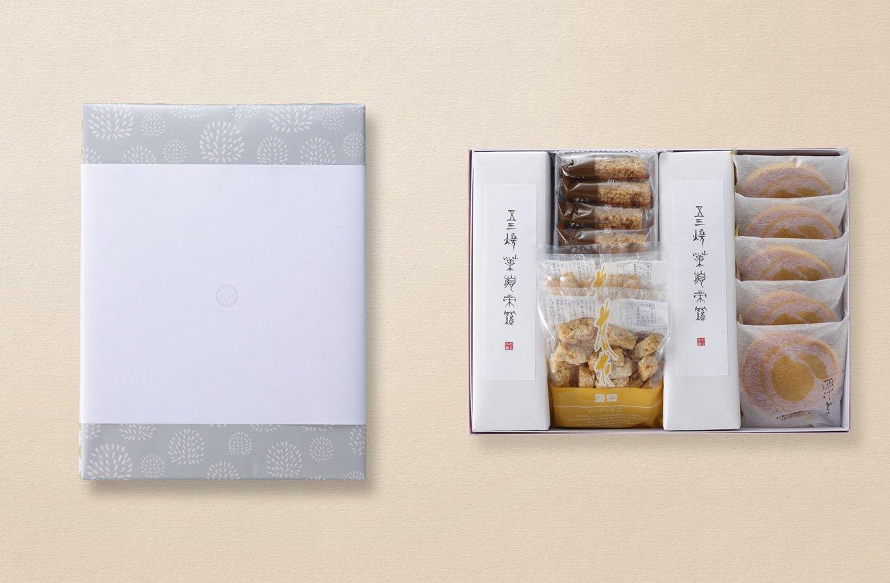法事用引き菓子 五三焼カステラ・おこし・栗どら詰合せ