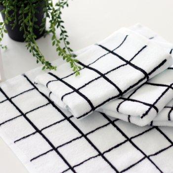 【ハンドタオル】白黒 グラフチェック柄 ハンドタオル