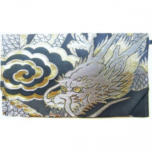 御朱印帳袋 金襴  銀龍  黒(銀龍) 010BG-GWK-A