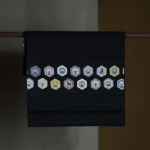 型染名古屋帯 カタクリにギフチョウ(紬)