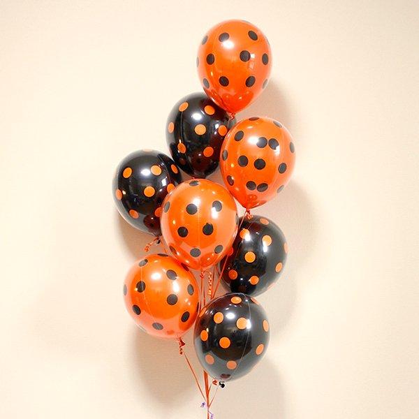 ハロウィンドット柄パーティーバルーン8個(小分けの重り8個付き)