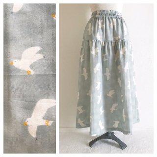 【ME様別注】■肌ざわり柔らかなダブルガーゼのティアードスカート(かもめ:スモーキーグリーン)