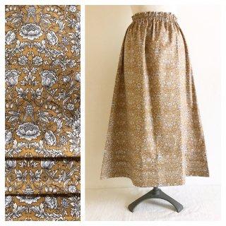 ■すっきりAラインスカート(85cm丈):読書の時間(マスタード)