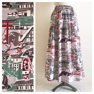 ■【和柄】はんなりと華やかなモダン柄ティアードスカート(日本の風景:薄紫)