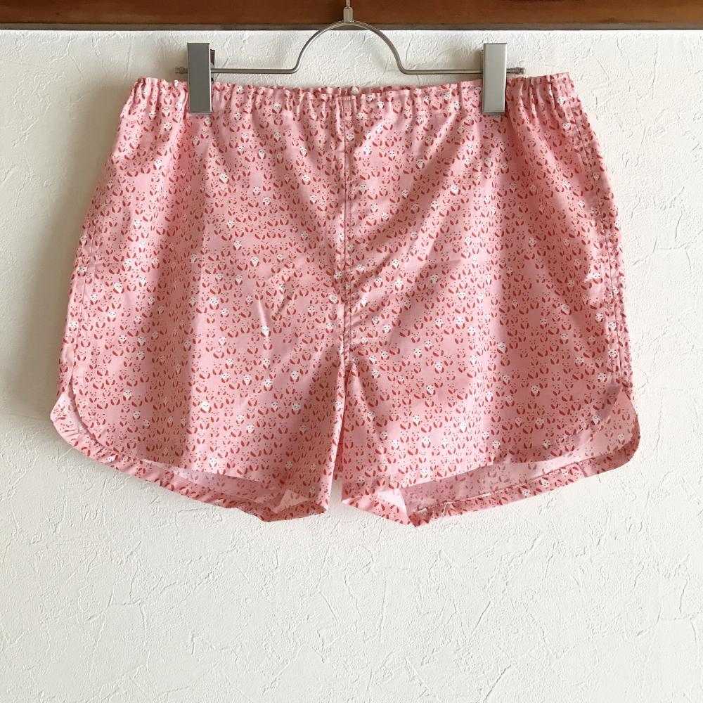 ★送料無料★可愛いハギレのショートパンツ:L(米パンダ:ピンク)