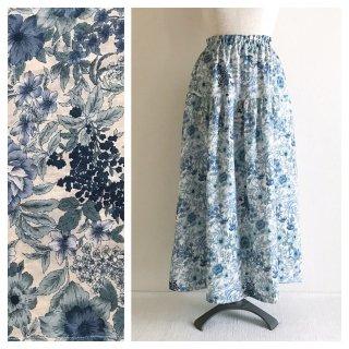 特別価格■レディのための麻のティアードスカート(ブルーフラワー)