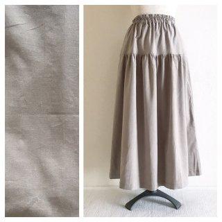 S様再手配用:あったかベーシックな細コーデュロイのティアードスカート(グレージュ)