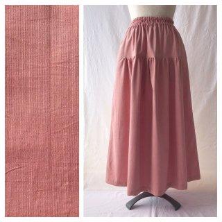 あったかベーシックな細コーデュロイのティアードスカート(ピンク)