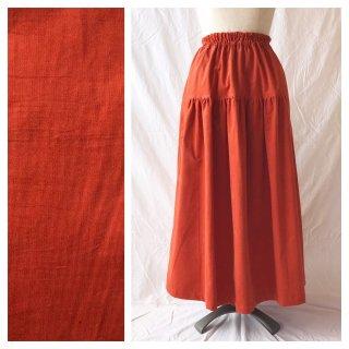 あったかベーシックな細コーデュロイのティアードスカート(オレンジ)