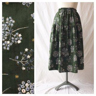 75cm丈:小さいさんのお直しいらずティアードスカート(プチブーケ:深緑)