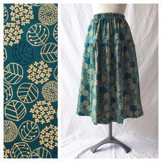 75cm丈:小さいさんのお直しいらずティアードスカート(ラウンドフラワー:青緑)