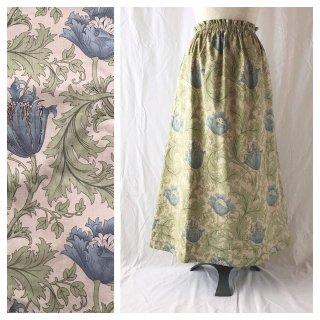 レディのためのシンプルAラインスカート(ウイリアムモリスのアネモネ:タートルダブ)