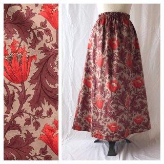 レディのためのシンプルAラインスカート(ウイリアムモリスのアネモネ:ワイン)