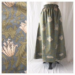 レディのためのシンプルAラインスカート(ウイリアムモリスのアネモネ:ブルー×ホワイト)