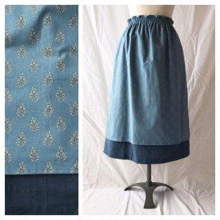 【肌ざわり至上主義】大人のエプロンスカート:75cm(フレンチフラワー:ブルー)
