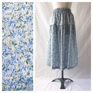 75cm丈:涼しく過ごすためのティアードスカート(花と小鳥:ブルー)